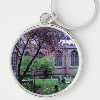 Trinity Church, Broadway, NYC April 2011 Silver-Colored Round Keychain