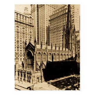Trinity Church & Church Yard Lower Manhattan NYC Postcard