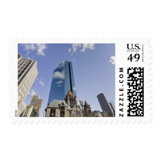 Trinity Church in foreground.  John Hancock Postage Stamp