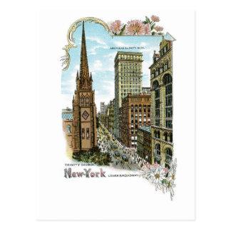 Trinity Church. New-York, Lower Broadway Postcard