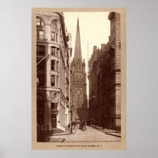 Trinity Church, Wall Street, New York City c1910 print