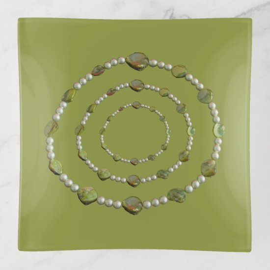 Trinket Tray - Circles of Pearls and Stones