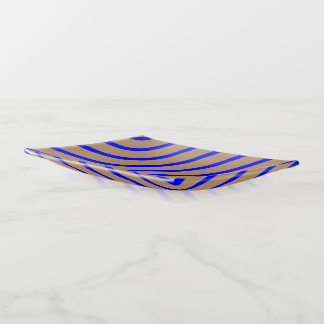 Trinket Tray Gold with Royal Blue Stripes