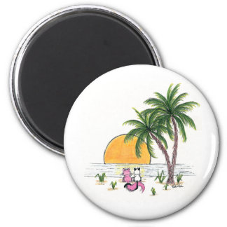 Trinket & Valentino on the beach Magnets