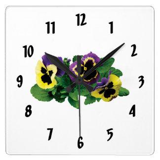 Trío amarillo y púrpura del pensamiento reloj cuadrado