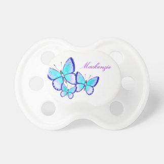 Trío bonito de la mariposa chupetes de bebe