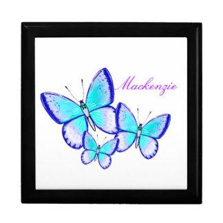 Trío bonito de la mariposa joyero cuadrado grande