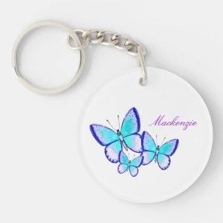 Trío bonito de la mariposa llavero redondo acrílico a doble cara