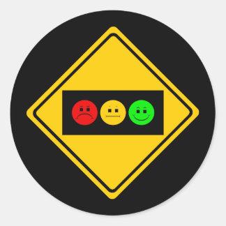 Trío cambiante de la luz de parada a continuación etiqueta redonda