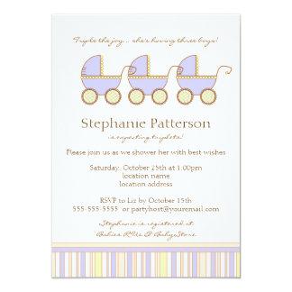 Trio Carriage Triplet Baby Boys Shower Invitation