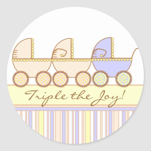 Trio Carriage Triplet Girl and Boy Sticker