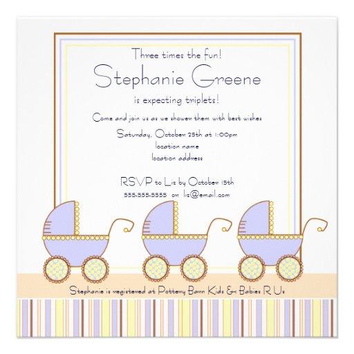 Trio Carriage Triplets Boy Baby Shower Invitation