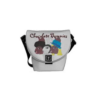 Trio Chocolate Bunnies w Chic Mini Messenger Bag