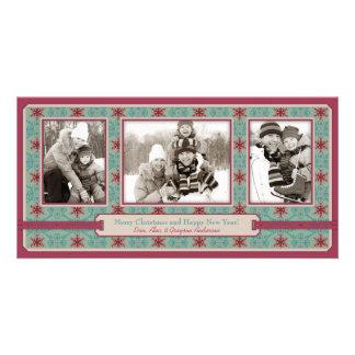 Trío con clase de la tarjeta de la foto del navida tarjetas fotográficas