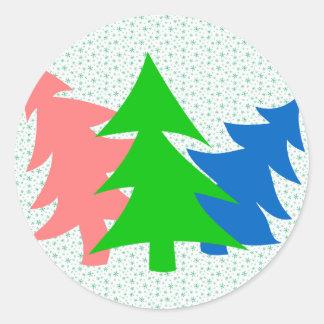 Trío de árboles de navidad etiquetas redondas