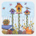 Trío de Birdhouses Pegatina Cuadrada