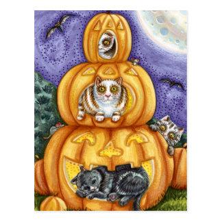 Trío de calabazas y de gatos tarjetas postales