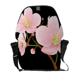 Trío de flores de cerezo bolsa de mensajería