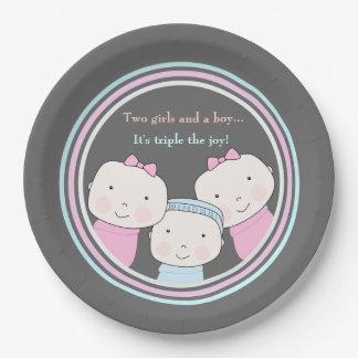Trío de la alegría del bebé azul del rosa del plato de papel de 9 pulgadas