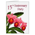 Trío de la fiesta de aniversario 15 de Cattleyas Tarjeta De Felicitación
