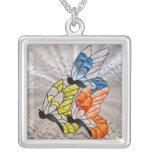 Trío de la mariposa en vitral collares personalizados