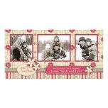 Trío de la tarjeta de la foto de los Poinsettias Tarjeta Con Foto Personalizada