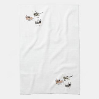 Trío de la vaca toalla de mano