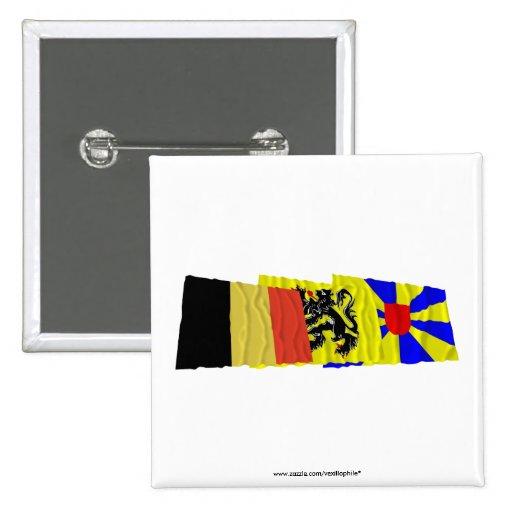 Trío de las banderas de Flandes Occidental que agi Pins