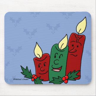 Trío de las velas del navidad alfombrillas de ratón