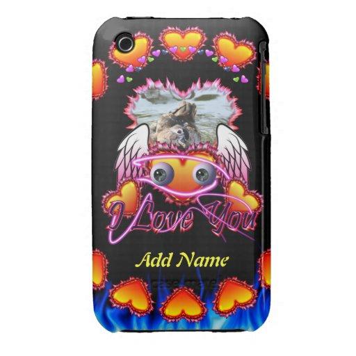 Trío de los corazones con las alas del ángel de lo iPhone 3 Case-Mate cárcasa