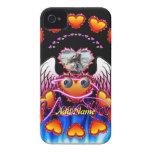 Trío de los corazones con las alas del ángel de lo iPhone 4 fundas