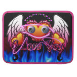 Trío de los corazones con las alas del ángel de lo funda para macbooks