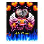 Trío de los corazones con las alas del ángel de lo plantilla de membrete