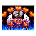 Trío de los corazones con las alas del ángel de lo tarjeta postal