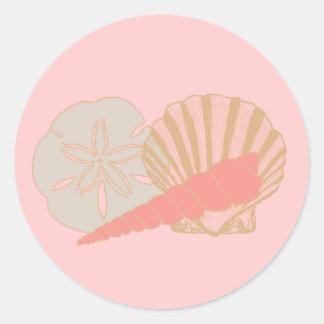 Trío de los Seashells Pegatina Redonda