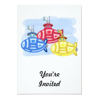 """Trío de submarinos coloreados creyón invitación 5"""" x 7"""""""