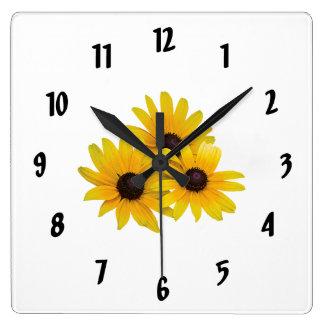 Trío de Susans Negro-Observado Reloj Cuadrado