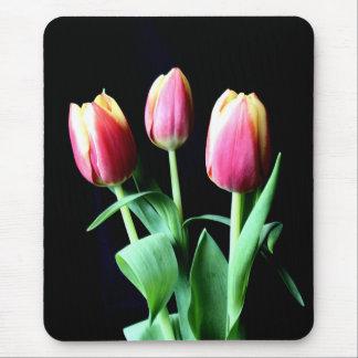 Trío de tulipanes rosados y amarillos alfombrilla de ratones