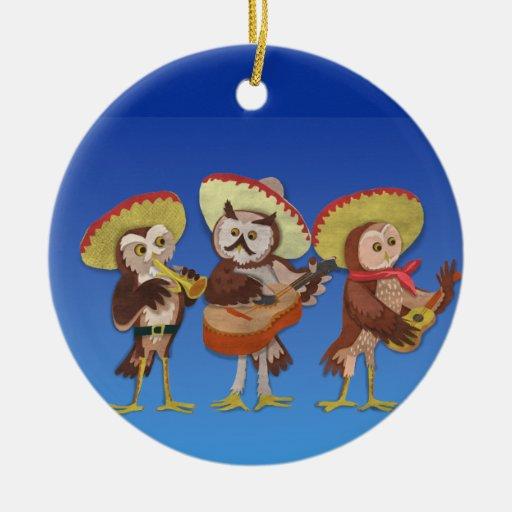 Trío del búho del Mariachi Ornamentos Para Reyes Magos