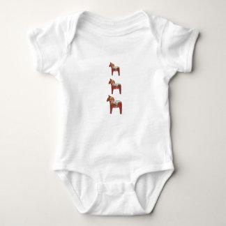Trío del caballo de Dala del sueco Body Para Bebé