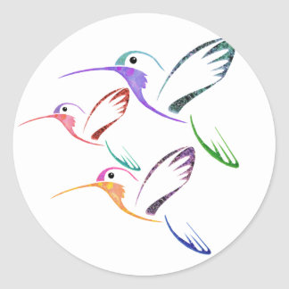 Trío del colibrí del remiendo pegatina redonda