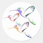 Trío del colibrí del remiendo pegatinas redondas