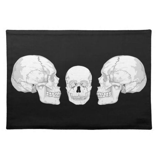 Trío del cráneo manteles individuales