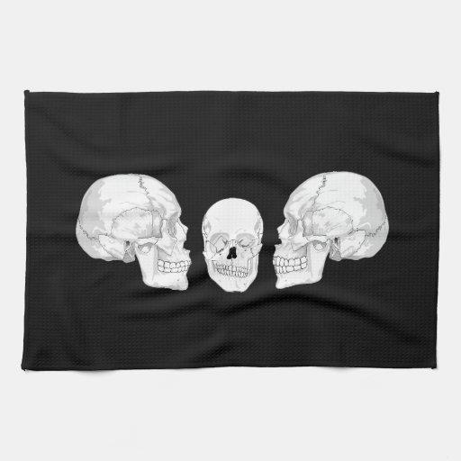Trío del cráneo toallas de cocina