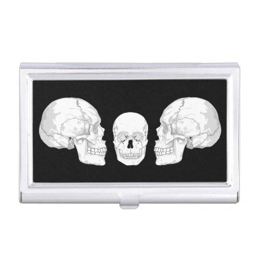 Trío del cráneo caja de tarjetas de negocios