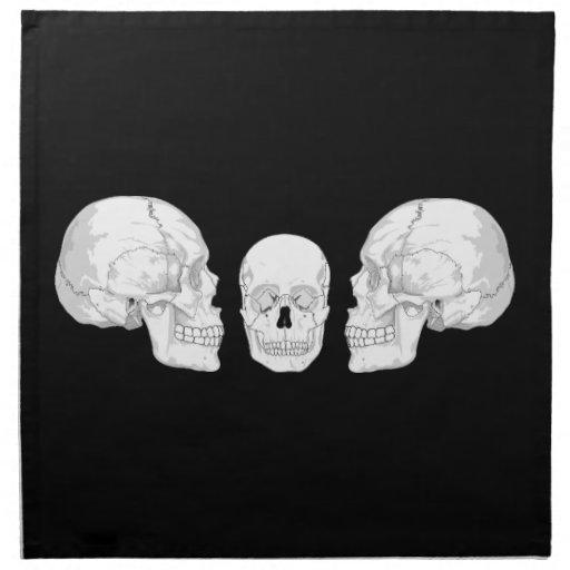 Trío del cráneo servilletas imprimidas