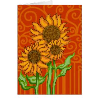Trío del girasol/tarjeta de nota con el sobre tarjeta pequeña