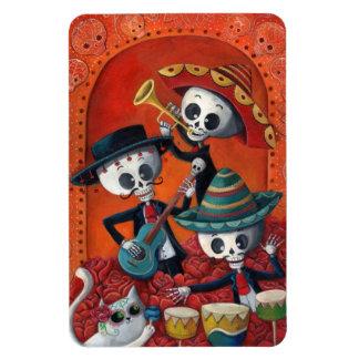 Trío del Mariachi de Dia de Los Muertos Skeleton Iman De Vinilo