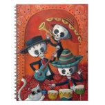 Trío del Mariachi de Dia de Los Muertos Skeleton Libretas Espirales