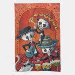 Trío del Mariachi de Dia de Los Muertos Skeleton Toallas De Mano